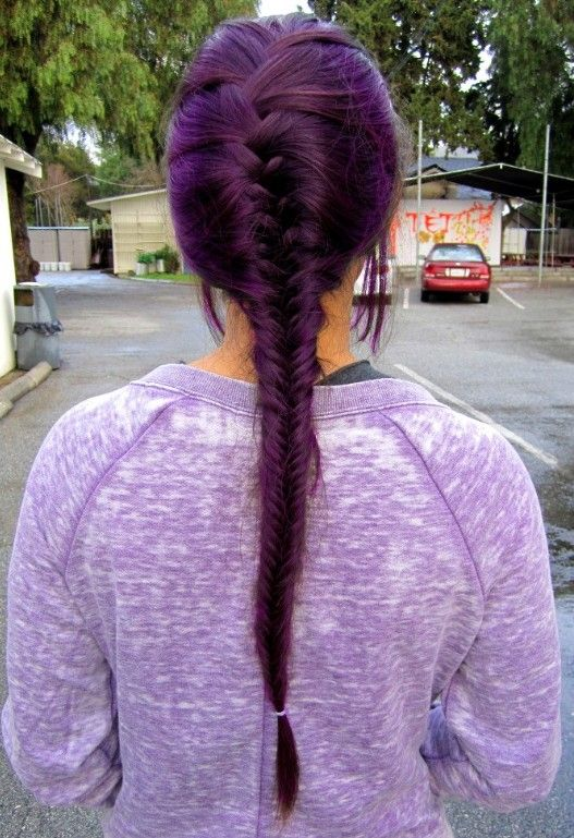 French Braid Purple Hairstyle