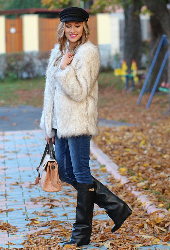 Fur Coat Outfit Idea with Boots