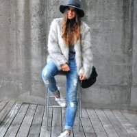Fur Coat and Ripped Jeans Outfit