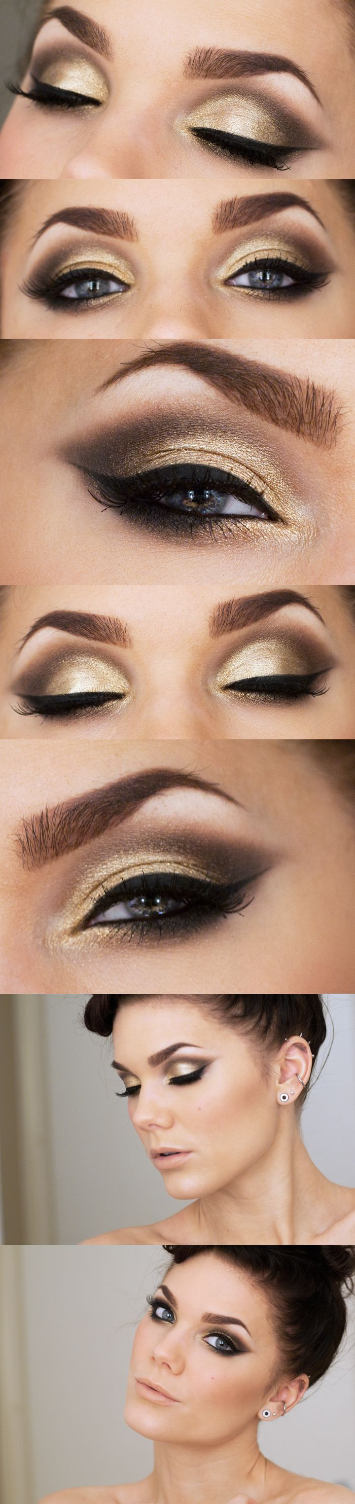 10 gold smoky eye tutorials for fall pretty designs gold eye shadow baditri Gallery