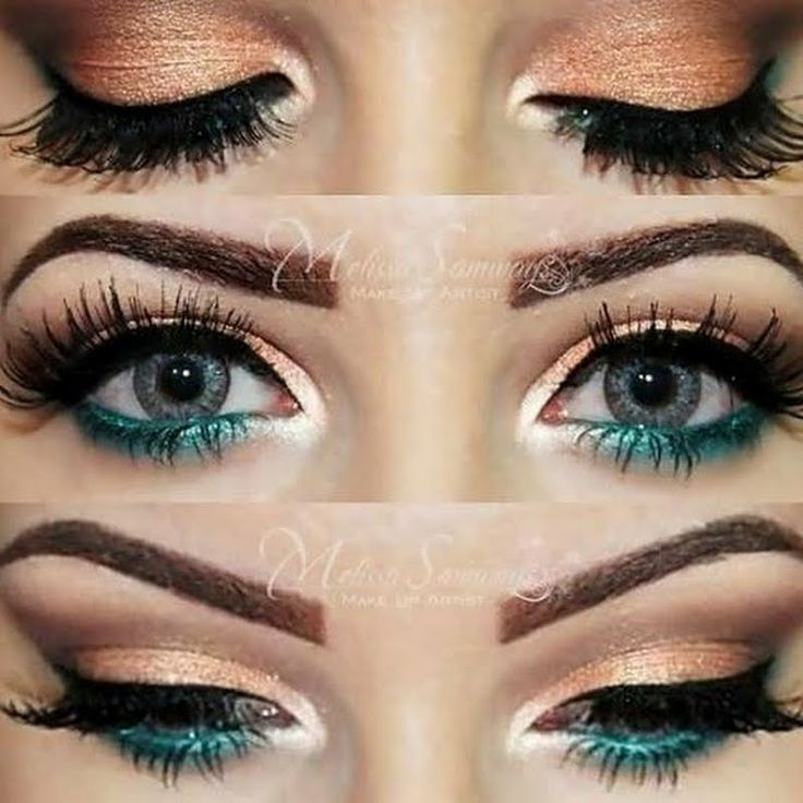 Gold, Peach and Turquoise Eye Makeup