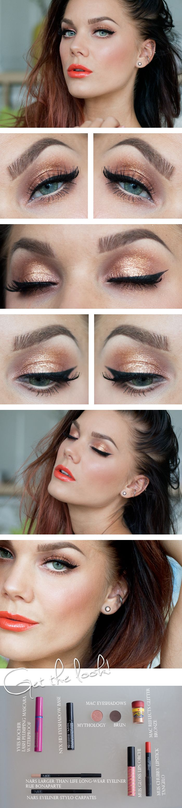 Gold and Peach Eyes and Orange Lips