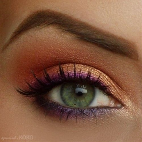 Gold and Peach Eyeshadow, Purple Eyeliner