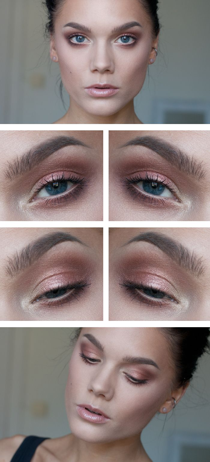 Golden Peach Makeup for Blue Eyes