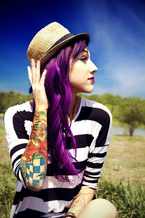 Great Long Wavy Purple Hairstyle