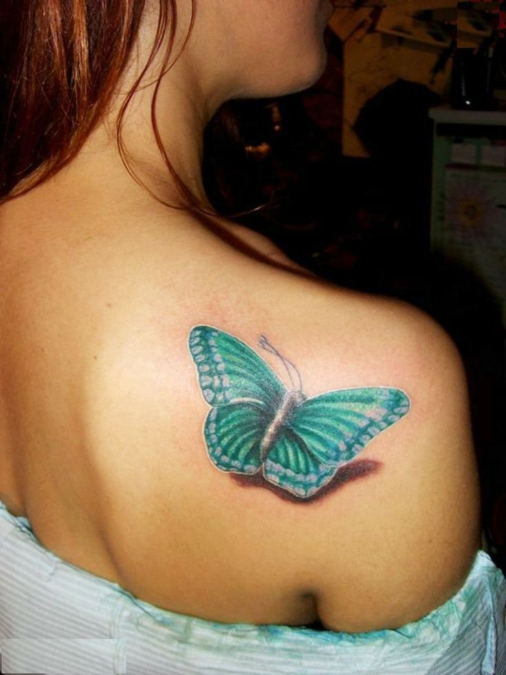Green and Blue Butterfly Tattoo