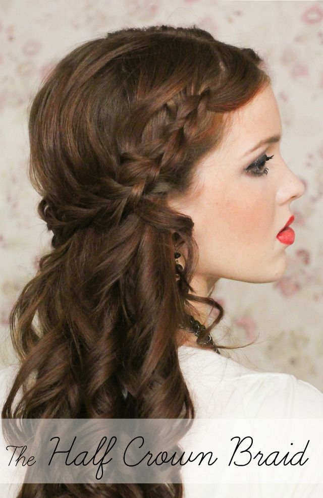Half Up Wedding Hairstyle For Medium Hair With Braid
