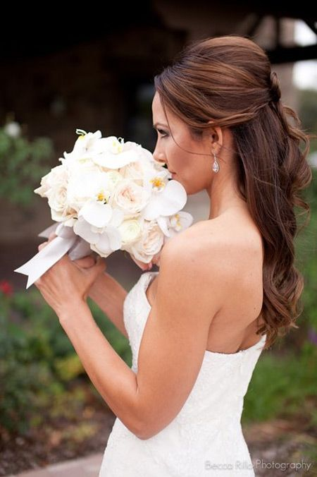 Half Updo Bridesmaid Hairstyle for Long Hair