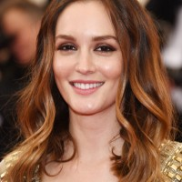 Leighton Meester Long Wavy Cut and Brown Smoky Eyes