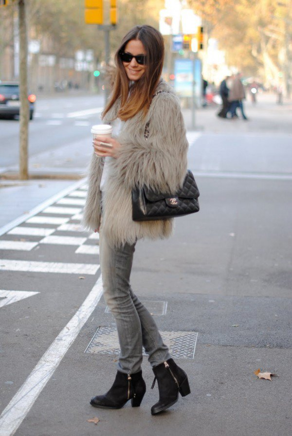 Light Coffee Fur Coat Outfit