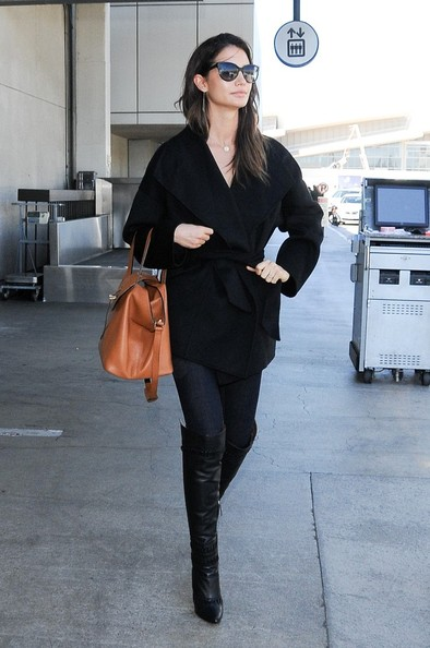 Lily Aldridge All Black Outfit with Knee High Boots