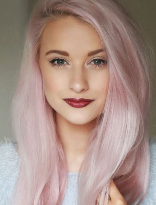 Long Straight Pale Pink Colored Hairstyle