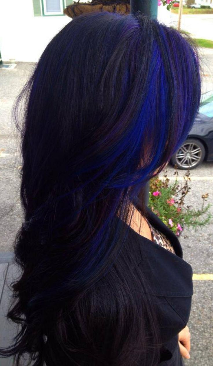 Long Wavy Black Hairstyle With Blue Streaks