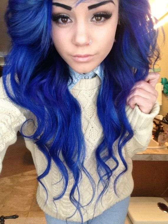 Long Wavy Blue Colored Hairstyle