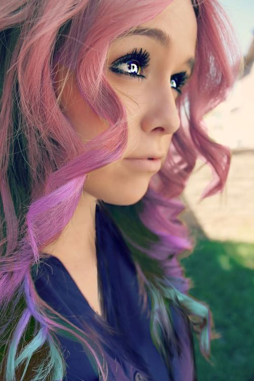 Lovely Pink and Purple Colored Hairstyle