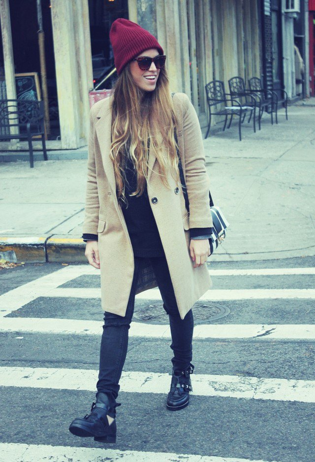 Maroon Hat with A Beige Trench Coat