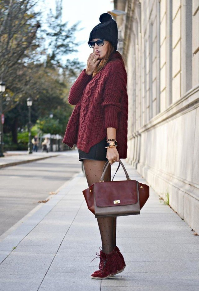 Maroon Knitwear Outfit for Winter