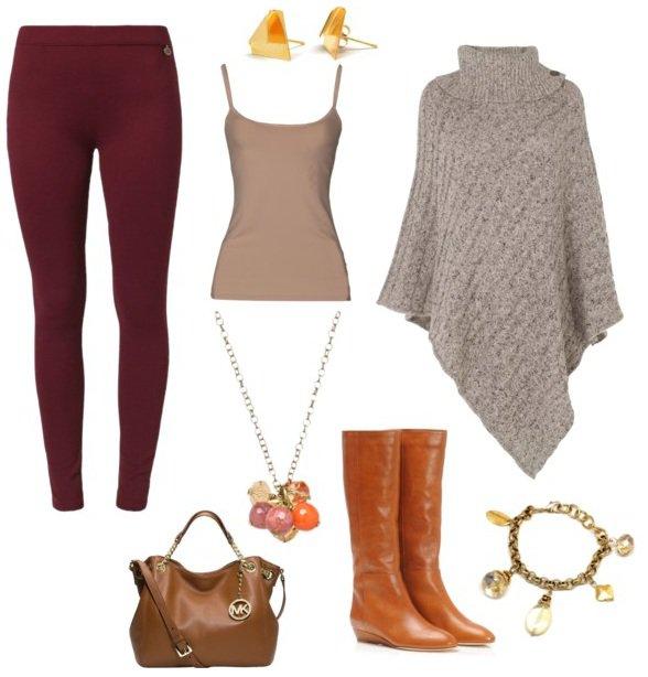Maroon Leggings Outfit Idea