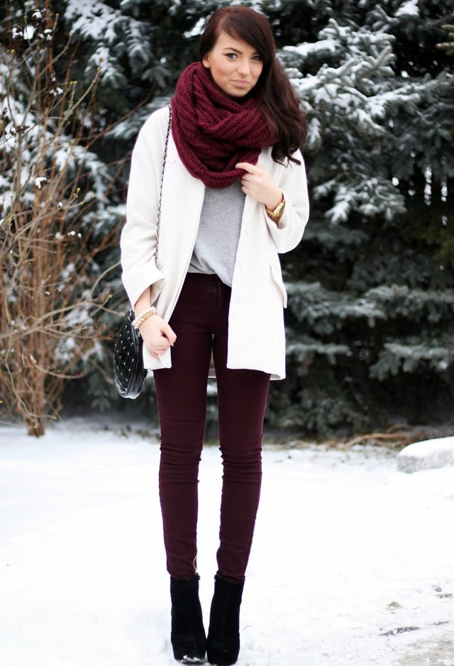 Maroon and White Outfit with a Scarf