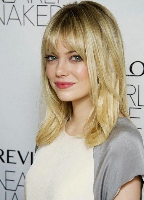 Medium Hairstyle With Bangs for Blond Hair