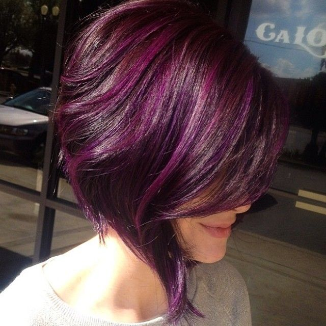 Medium Purple Hairstyle - Inverted Bob