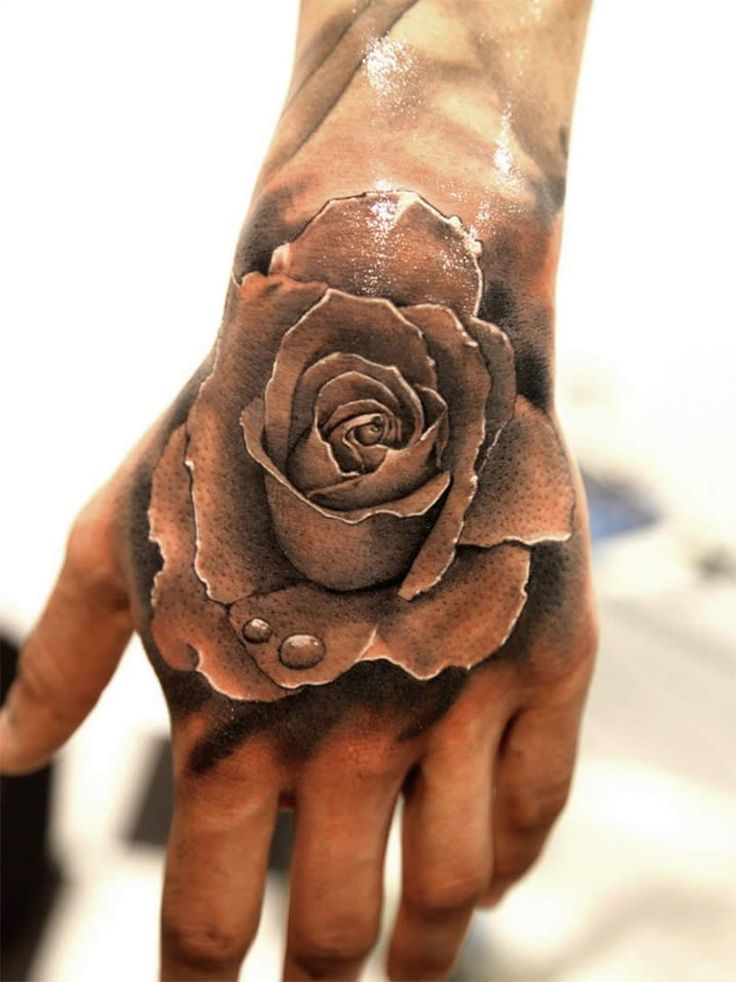 Men Rose Hand Tattoo