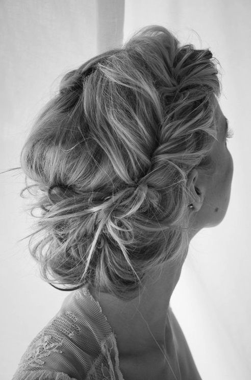 Messy Braided Bun Hairstyle for Long Hair