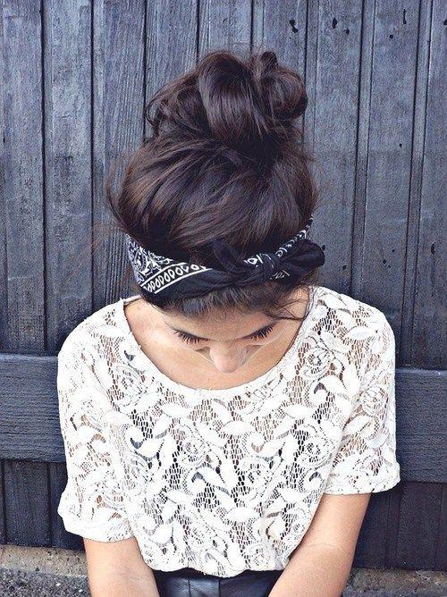 Messy Bun Hairstyle With Headband