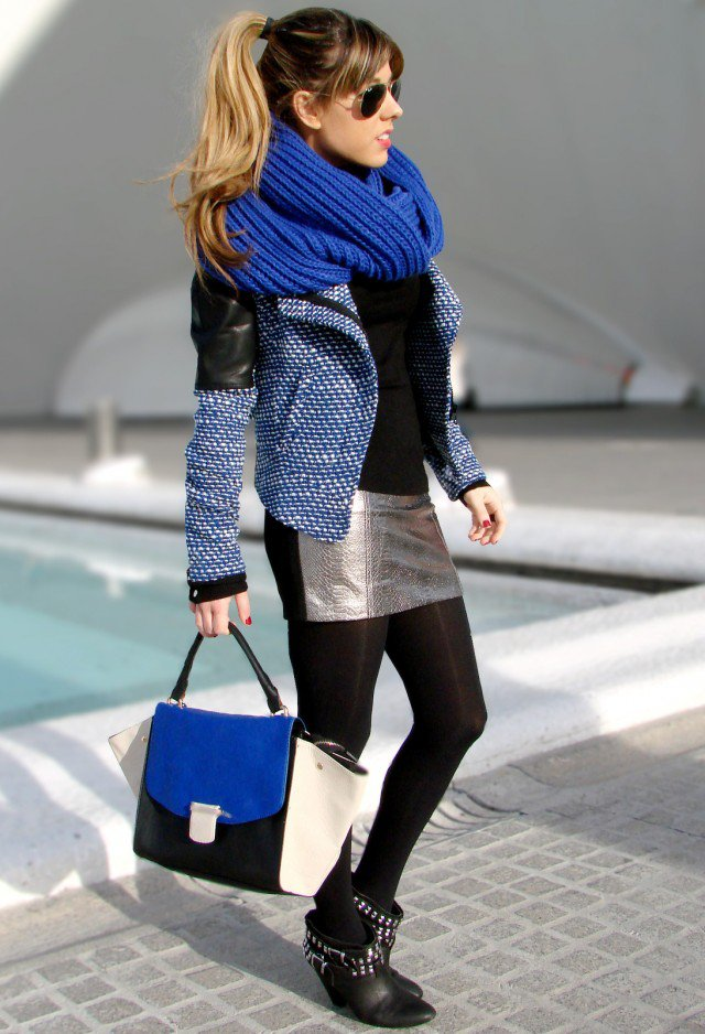 Navy Blue Scarf for Fall