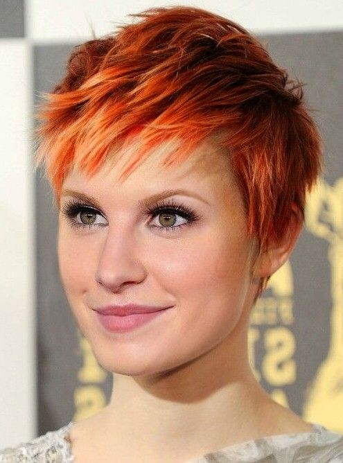 Orange Colored Short Pixie Hairstyle