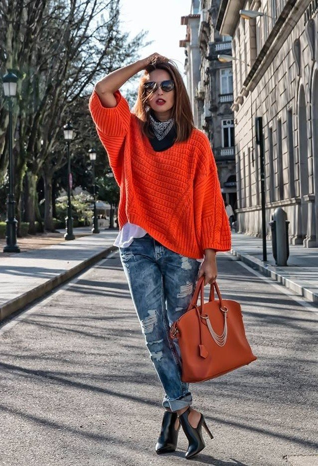 Orange Jumper Outfit with Ripped Jeans