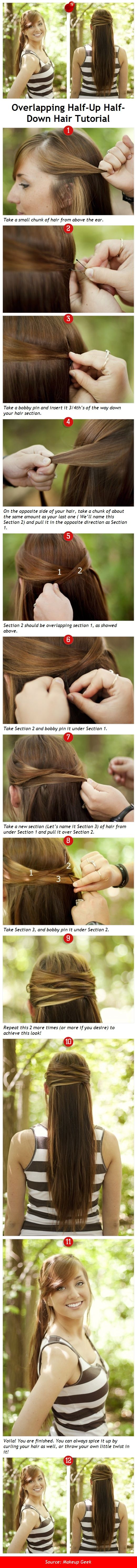 Overlapping Half Up Half Down Hairstyle Tutorial
