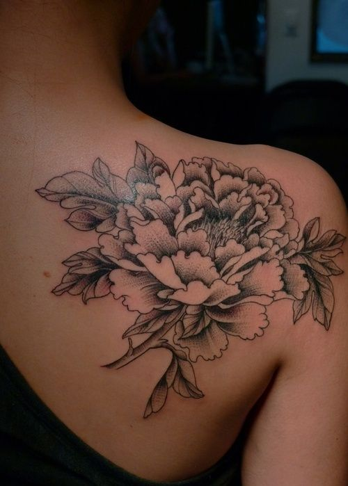 Peony Tattoo on Shoulder Blade