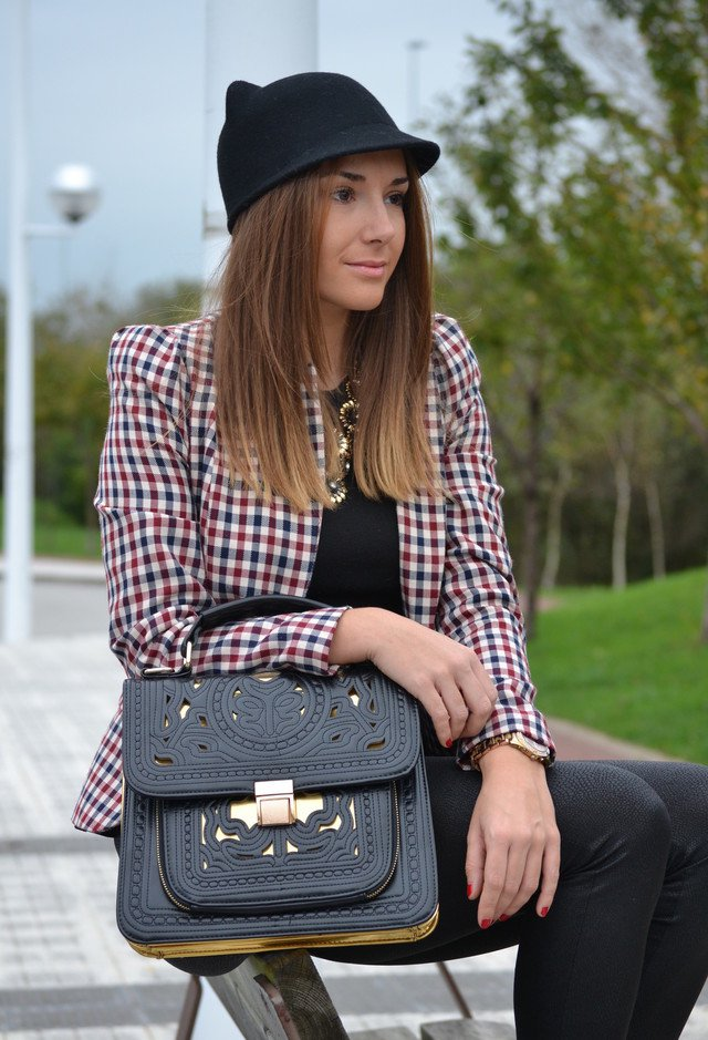 Plaid Outfit with a Hat