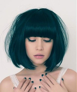 Pretty Black Bob Hairstyle With Blunt Bangs