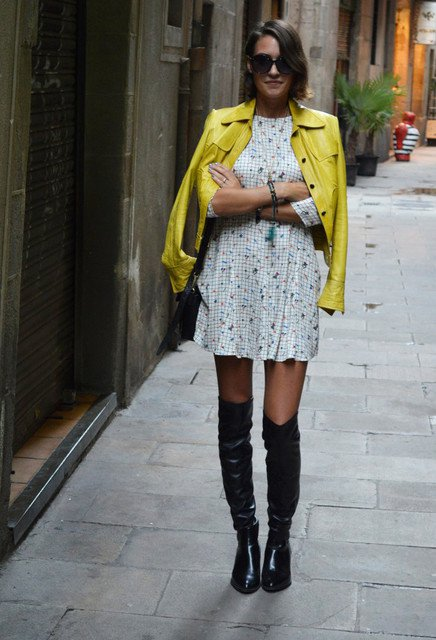 Pretty Fall Outfit Idea with Over-Knee Boots