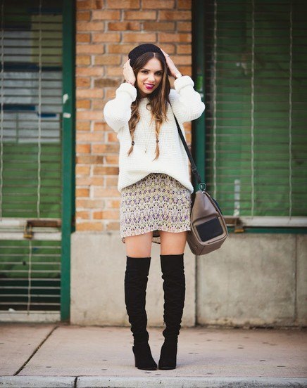 Pretty Outfit Idea with High Boots