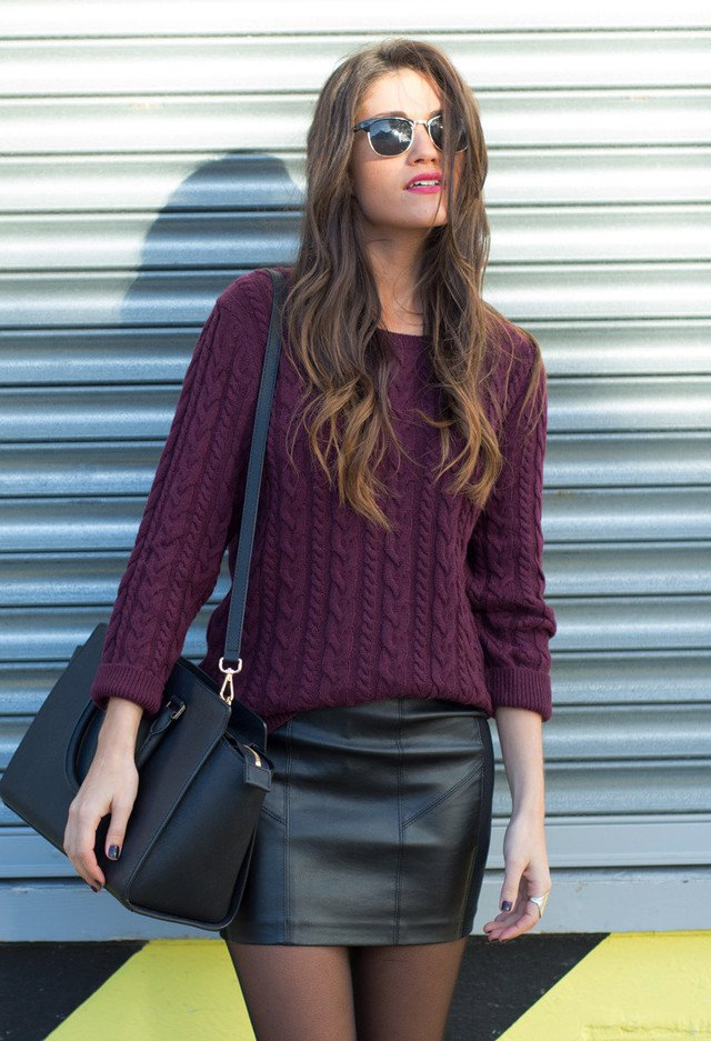 Purple Jumper with Black Leather Skirt