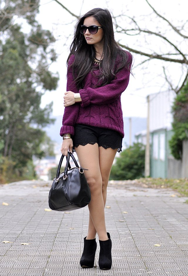 Purple Knitwear Outfit Idea
