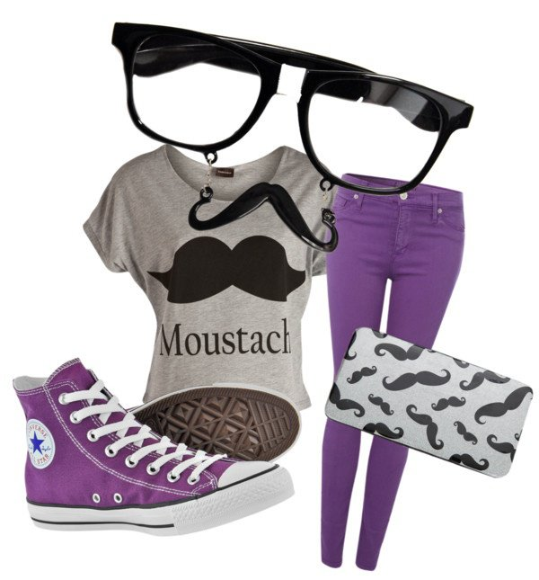 Purple and Grey Outfit Idea for Movember