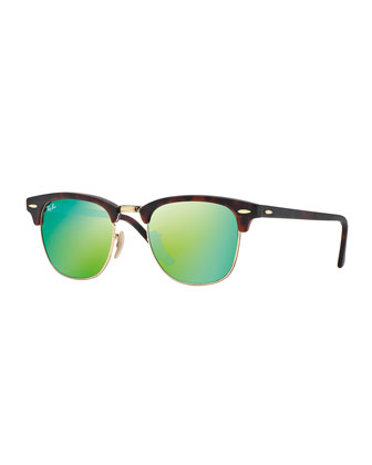 Ray-Ban Clubmaster Sunglasses with Green Mirror Lens