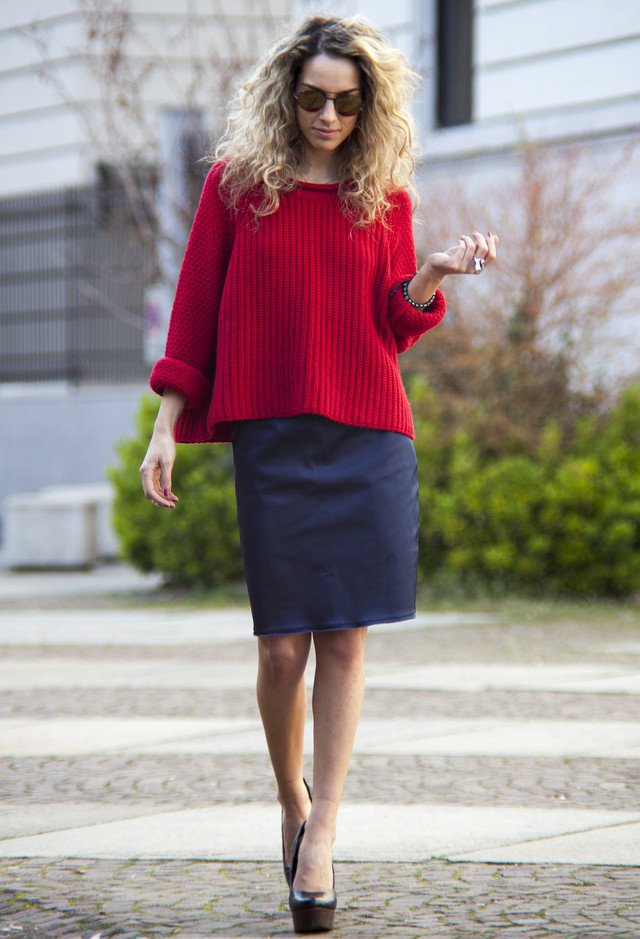 Red Jumper and Black Skirt Outfit