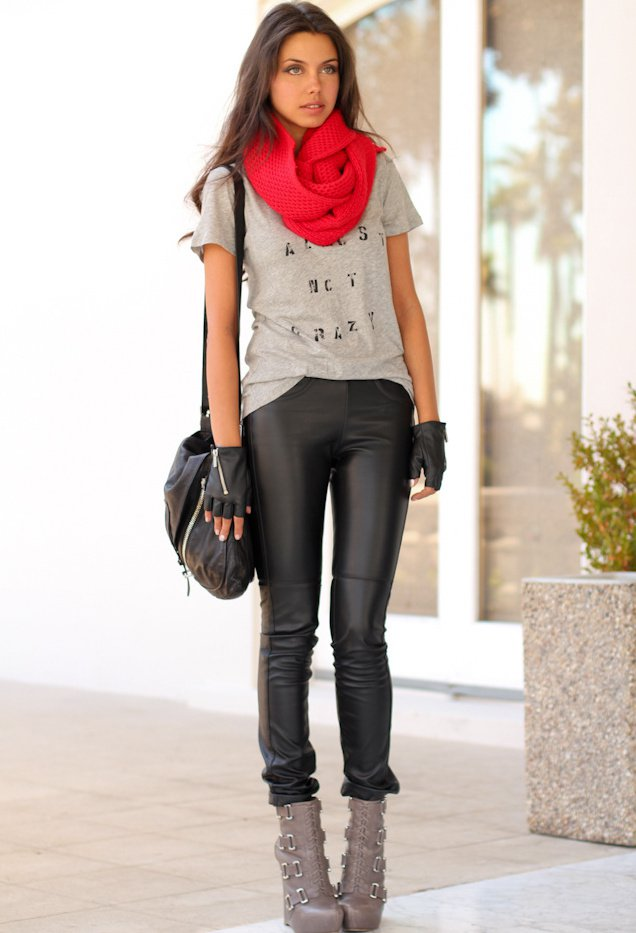Red Scarf and Black Trousers
