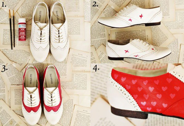 Red and White Oxfords