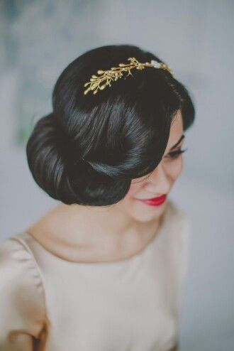 Retro Updo Hairstyle with Hair Accessory