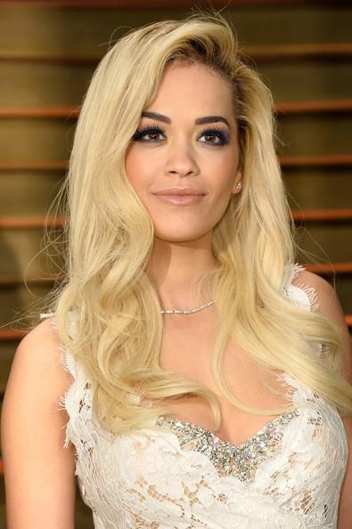 Rita Ora Blonde Long Curls and Smoky Eyes