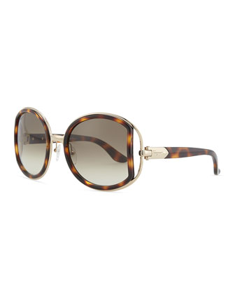 Salvatore Ferragamo Round Sunglasses with Buckle Detail
