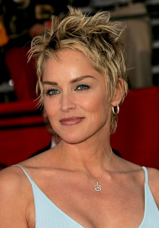 Most popular short pixie haircut for women over 50 from Sharon Stone