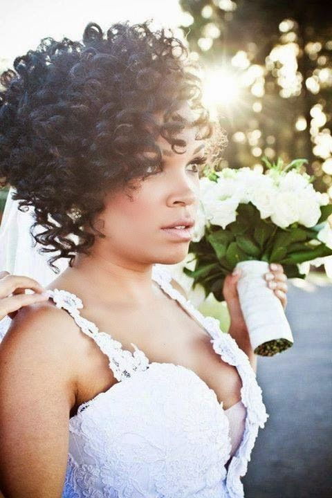 Short Black Curly Wedding Hairstyle