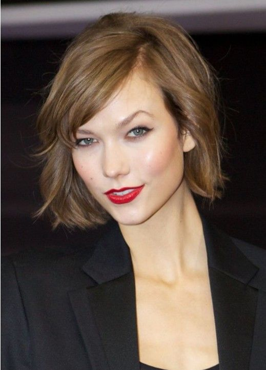 Short Curly Wavy Hairstyle With Bangs